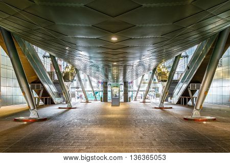 London, UK - June 23, 2016 - Entrance of South Quay docklands light railway station in Canary Wharf business district of London
