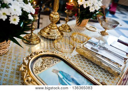 Two Golden Wedding Crowns In Tetrapods Of Church