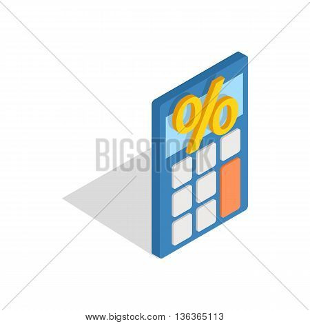 Calculator icon in isometric 3d style isolated on white background. Money and calculations symbol