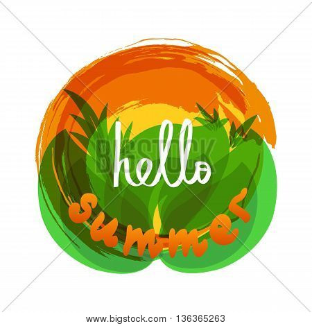 Hello Summer quote on tropical background. Vector illustration