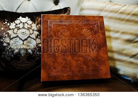 Brown Leather Wedding Book And Album, Cover With Stamping