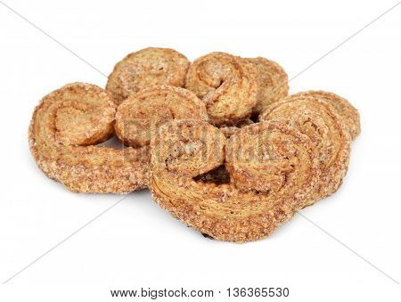 some palmier pastries made with spelt flour on a white background