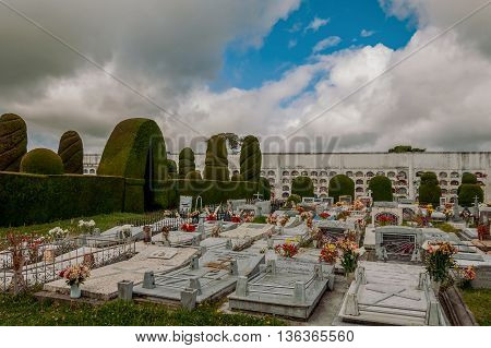 Tulcan Ecuador - 10 july 2011: The Cemetery Of Tulcan Was Founded In 1932 To Replace The Old Cemetery, Stringing graves