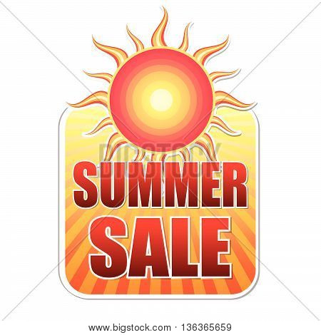 summer sale banner - text in yellow label with red sun and orange sunrays, business concept, vector