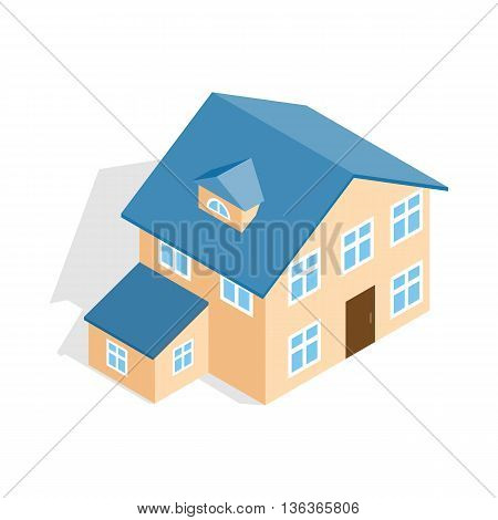 Two storey house with annexe icon in isometric 3d style isolated on white background. Construction symbol