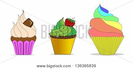 Vector set of different cute cupcakes candy,