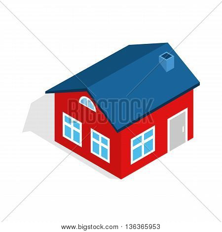 House with attic icon in isometric 3d style isolated on white background. Construction symbol
