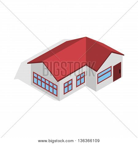 House with red roof icon in isometric 3d style isolated on white background. Construction symbol