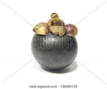 A mangosteen isolated on white background texture.