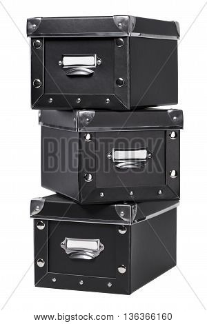 Storage boxes with metal corners isolated on white