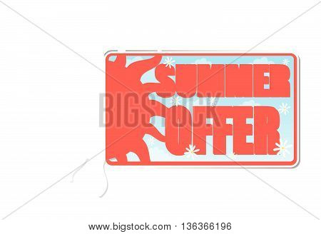 summer offer banner - text in blue label with red yellow sun and white daisy flowers, business concept, vector