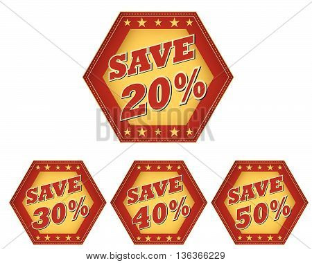 save 20, 30, 40, 50 percentages - retro style red ocher hexagon labels with text and stars, business discount concept, vector