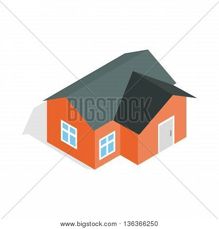 Orange house icon in isometric 3d style isolated on white background. Construction symbol