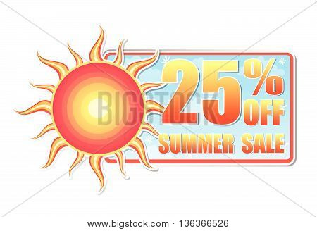 25 percentages off summer sale banner - text in blue label with red yellow sun and white daisy flowers, business concept, vector