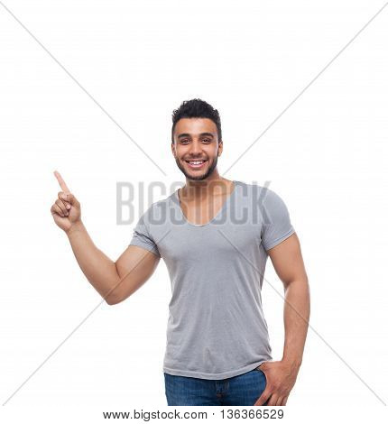 Casual Handsome Man Point Finger At Corner To Copy Space Happy Smile Young Handsome Guy Wear Shirt Jeans Isolated White Background