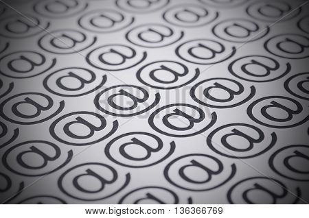 E-mail marks on a white background selective focus image