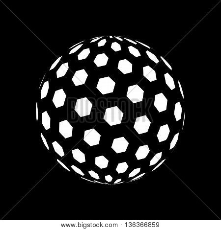 Abstract Sphere Element with Hexagon Pattern Envelope Isolated on Black Background