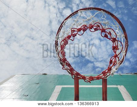 Street basketball, Wooden basket hoop on blue sky, With place for your text