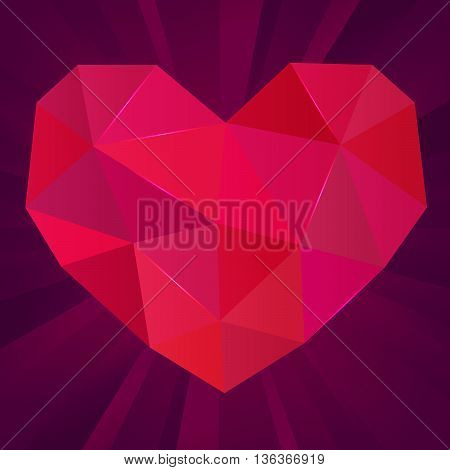 Polygonal vector heart on purple background. Ruby gem. Vector illustration
