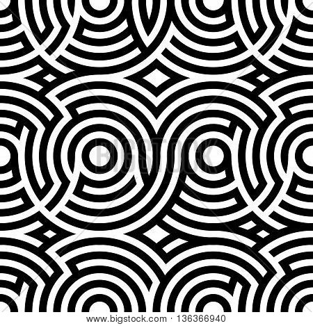 Two-color spiral patterns. Seamless pattern. Vector background. Modern pattern. Hypnotic black line.