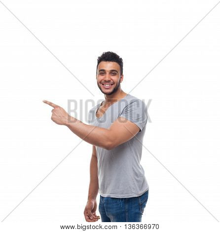 Casual Handsome Man Point Finger Side To Copy Space Happy Smile Young Handsome Guy Wear Shirt Jeans Isolated White Background