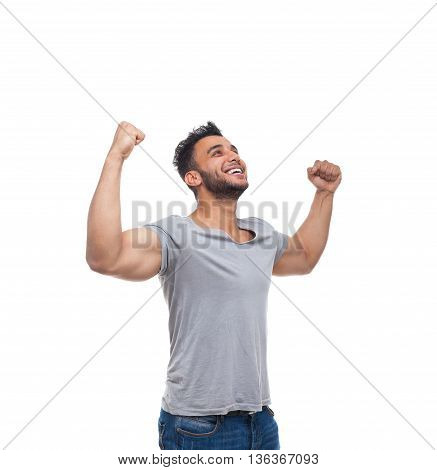 Casual Man Excited Look Up Happy Smile Young Handsome Guy Wear Shirt Isolated White Background