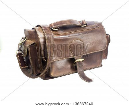 Brown vintage bag isolated on a white background