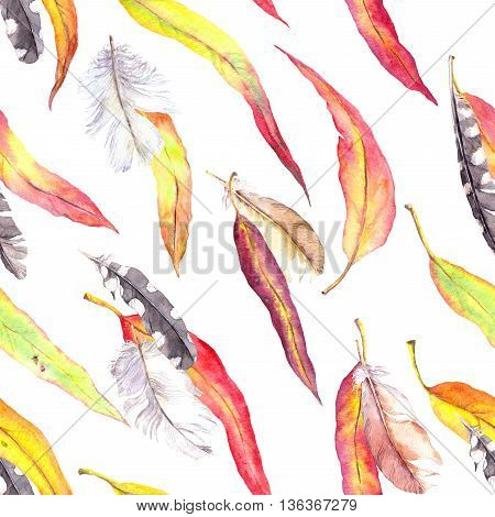 Colored leaves and feathers. Seamless autumn pattern. Watercolor in vintage boho style