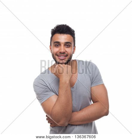 Casual Man Hand Hold Chin Smiling Young Handsome Guy Wear T-Shirt Isolated White Background