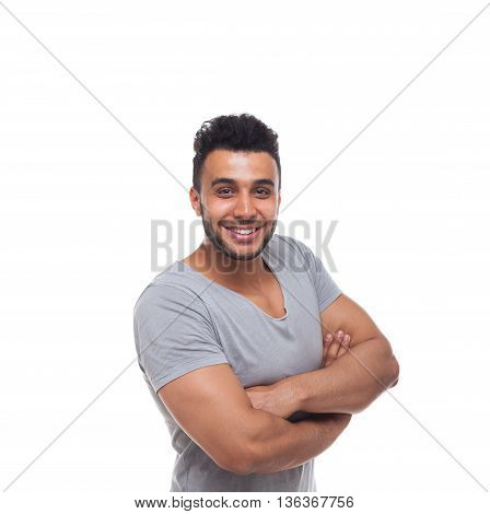 Casual Man Happy Smile Young Handsome Guy Folded Hands Wear Shirt Isolated White Background