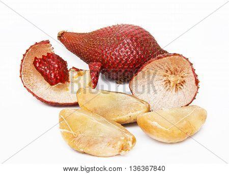 Salak fruit, Salacca zalacca isolated on white background