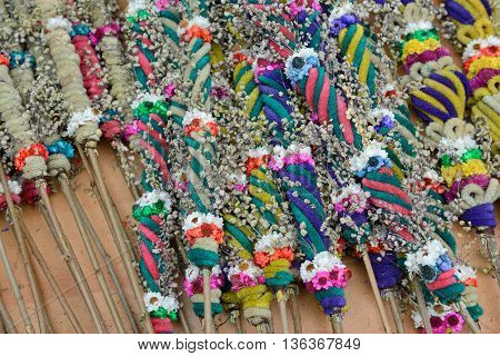 VILNIUS, LITHUANIA - MARCH 7: Traditional palm bouquets in annual traditional crafts fair - Kaziuko fair on Mar 7, 2014 in Vilnius, Lithuania