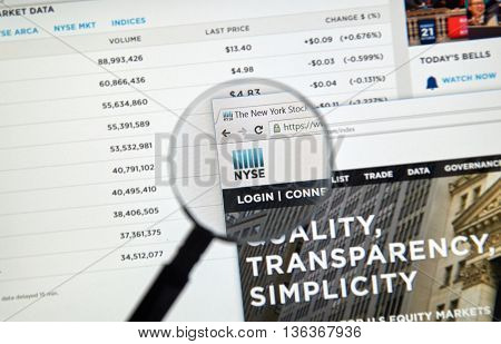 MONTREAL CANADA - JUNE 24 2016 : NYSE web page under magnifying glass. The New York Stock Exchange abbreviated as NYSE and nicknamed 'The Big Board' is an American stock exchange