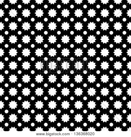 Circle star abstract seamless pattern. Fashion graphic background design. Modern stylish abstract texture. Monochrome template for prints textiles wrapping wallpaper website VECTOR illustration