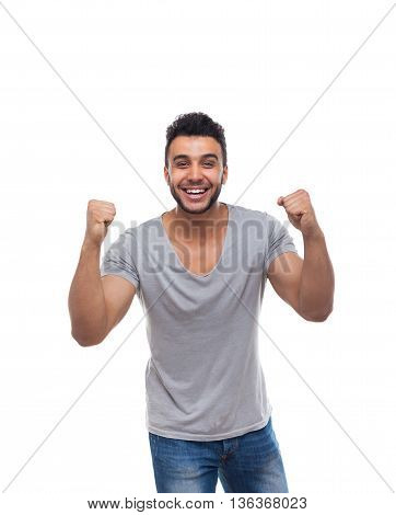 Casual Man Excited Hold Hands Fist Up Happy Smile Young Handsome Guy Wear Shirt Jeans Isolated White Background