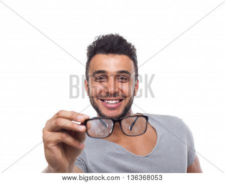 Casual Man Hold Eye Glasses Young Businessman Happy Smile Handsome Guy Student Wear Shirt Isolated White Background