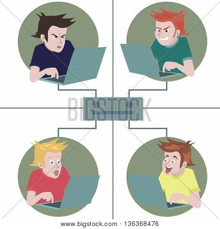 social network cartoon - funny illustration of groupe of emotional people connected with net