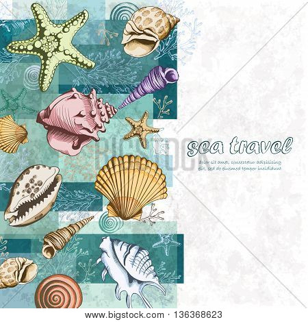 Vector poster with seashells corals and starfishes. Marine background. Travel Template. Colorful layered illustration in sketch style. Perfect for greetings invitations wedding and web design.