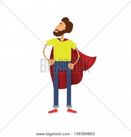 Super hero cartoon man. Man in red cloak