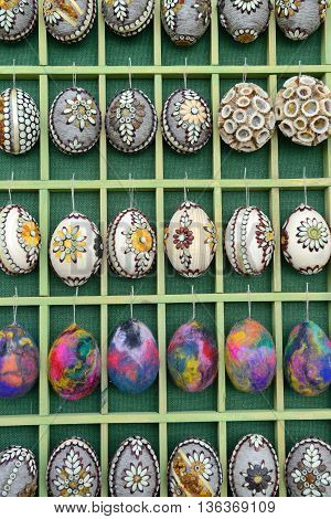 VILNIUS, LITHUANIA - MARCH 8: Hand painted colorful Easter eggs in annual traditional crafts fair - Kaziuko fair on Mar 8, 2014 in Vilnius, Lithuania