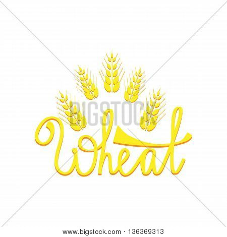 Ears of Wheat hand draw illustration. Wheat lettering. Can use for bread packaging beer labels packages of flour etc.