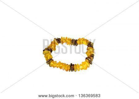 Amber bracelet isolated on the white background