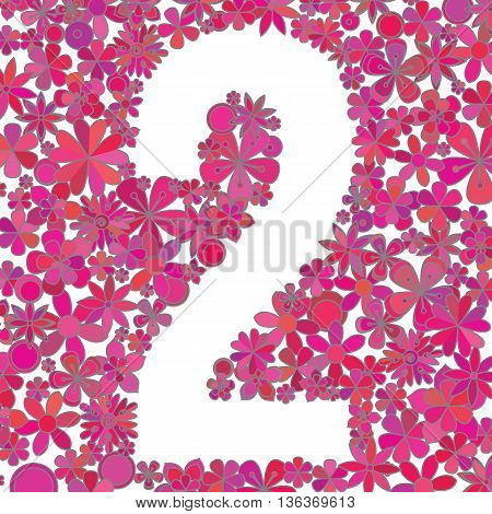 Vector number two made of colorful flowers on white background.