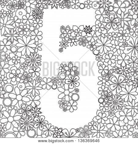 Vector number five made of black and white flowers.