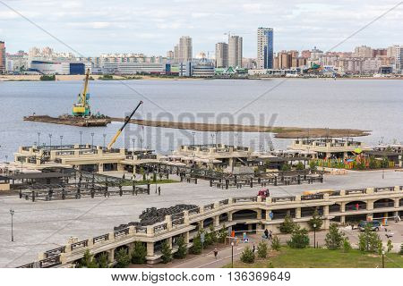 Kazan Kremlin - June 06 2015: River quay and landscape of the Kazan city