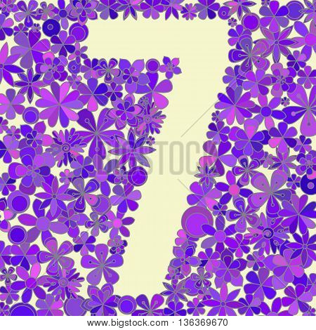 Vector number seven made of colorful flowers.
