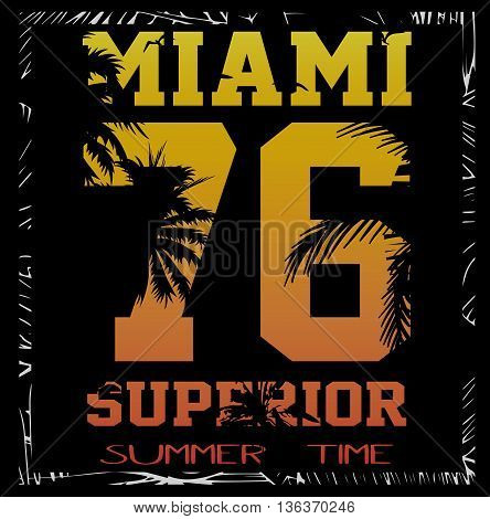vector illustration of a cool surfing in Miami. Miami surfing design for graphics for t-shirt vintage design summer design
