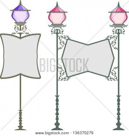 Wrought Iron Signage With Lamp, Lantern Vector Illustration