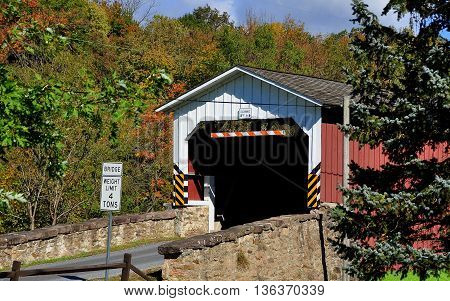 East Earl Township Pennsylvania - October 19 2015: 1878 Burr arch-truss Weaverland Road Covered Bridge