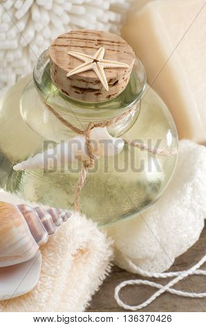 Spa still life with essential oil and towel